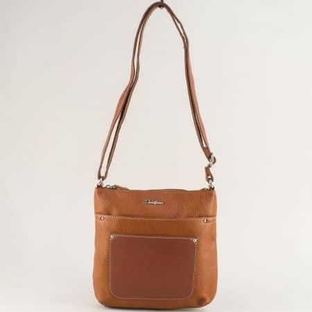 Кафява дамска чанта с дълга дръжка- DAVID JONES ch6115-2k