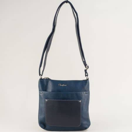 Тъмно синя дамска чанта с дълга дръжка- DAVID JONES ch6115-2s