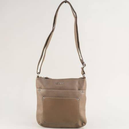 Дамска чанта в бежов цвят с дълга дръжка- DAVID JONES ch6115-2bj