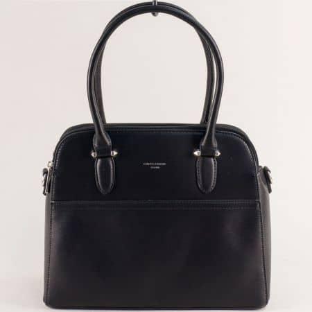 Черна дамска чанта с твърда структура- DAVID JONES ch6117-1ch