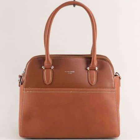 Кафява дамска чанта- DAVID JONES с три прегради ch6117-1k