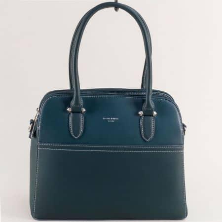 Зелена дамска чанта с твърда структура- DAVID JONES ch6117-1z