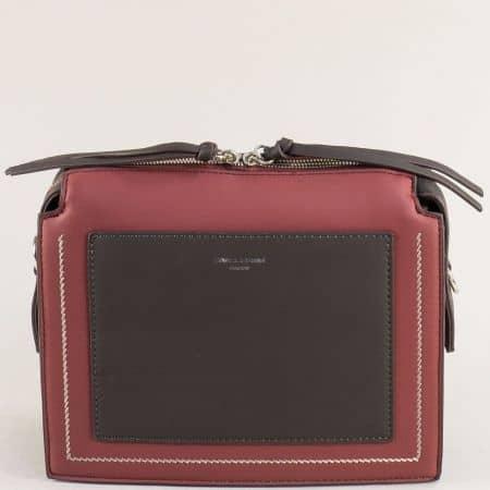 Малка дамска чанта в черно и бордо- DAVID JONES ch6119-1bd