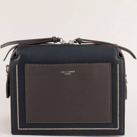 Дамска чанта с твърда структура в сиво и черно ch6119-1ch