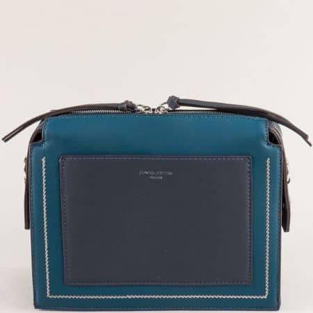 Дамска чанта с твърда структура в зелено и синьо ch6119-1z
