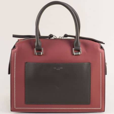 Дамска чанта в черно и бордо- DAVID JONES ch6119-2bd