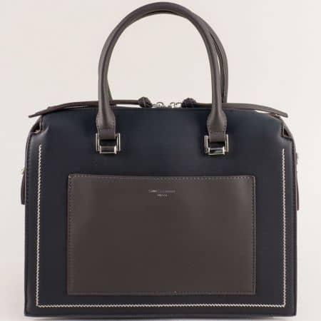 Дамска чанта в сиво и черно с твърда труктура ch6119-2ch