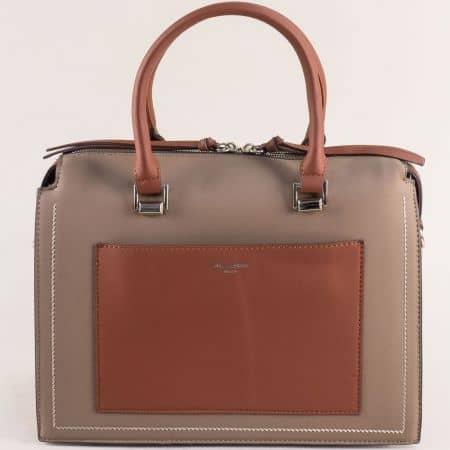 Дамска чанта в кафяво и бежово- DAVID JONES ch6119-2k