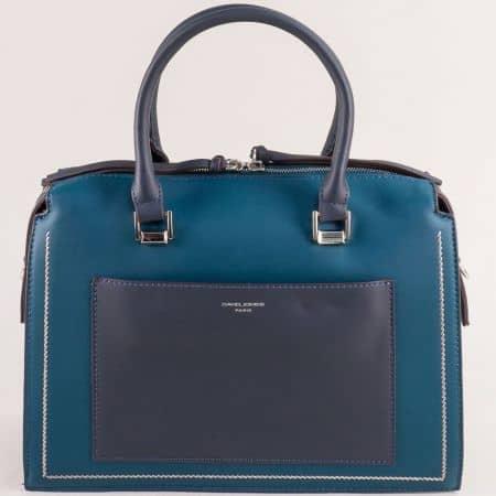 Дамска чанта в зелено и синьо с твърда труктура ch6119-2z