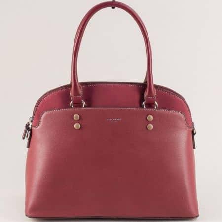 Дамска чанта в цвят бордо с две външни джобчета ch6127-1bd