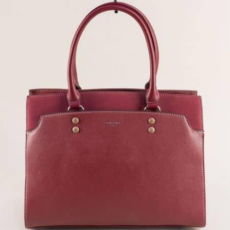 Френска дамска чанта с твърда структура в цвят бордо ch6127-2bd