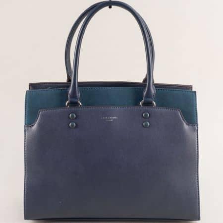 Дамска чанта в син цвят с твърда структура- DAVID JONES ch6127-2s