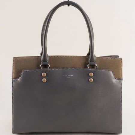 Френска дамска чанта с твърда структура в сив цвят ch6127-2sv