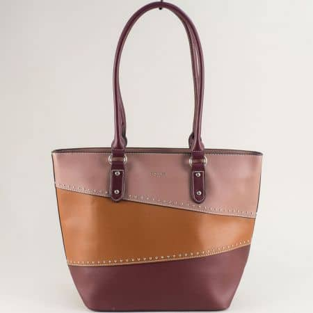 Дамска чанта в бордо, кафяво и розово- DAVID JONES ch6133-2bd
