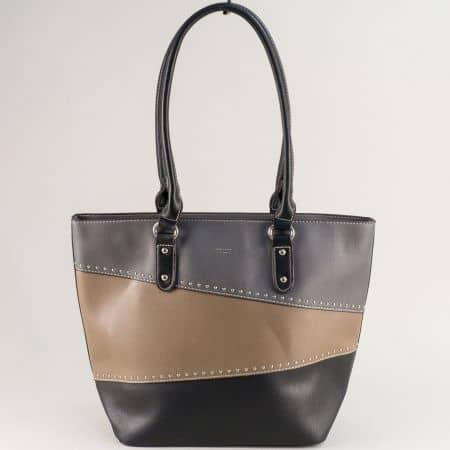 Дамска чанта в сиво, черно и светло кафяво с две дражки ch6133-2ch