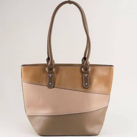 Дамска чанта в бежово, кафяво и светло кафяво ch6133-2k