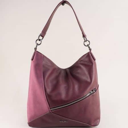 Дамска чанта, тип торба- DAVID JONES в цвят бордо ch6134-2bd