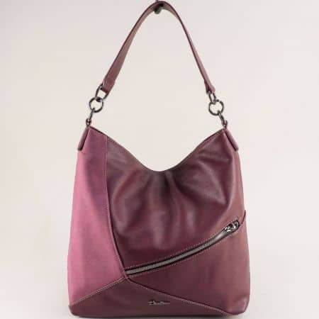 Дамска чанта, тип торба в цвят бордо с декорация ch6134-2bd
