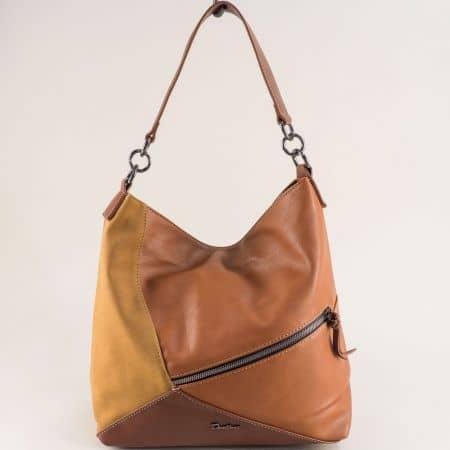 Светло кафява дамска чанта, тип торба с декорация ch6134-2k