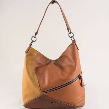 Дамска чанта, тип торба в кафявата гама- DAVID JONES ch6134-2k