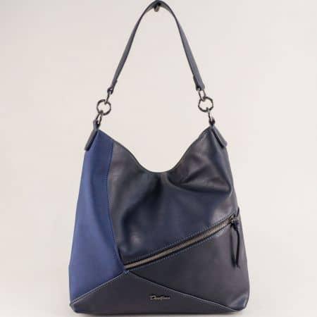 Дамска чанта, тип торба в син цвят- DAVID JONES ch6134-2s