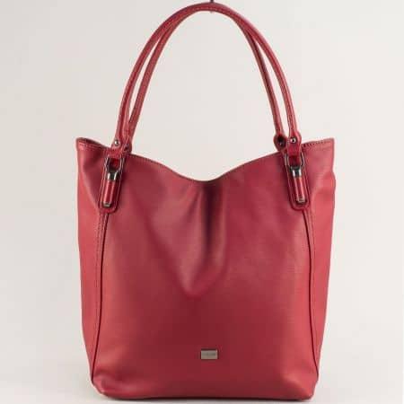 Дамска чанта с три прегради- DAVID JONES в цвят бордо ch6136-1bd