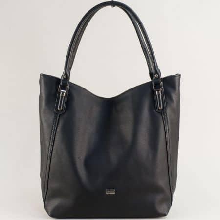 Дамска чанта с три прегради- DAVID JONES в черен цвят ch6136-1ch