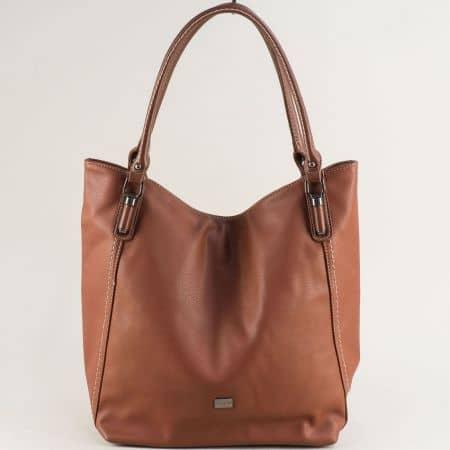 Кафява дамска чанта с три прегради и две дръжки ch6136-1k