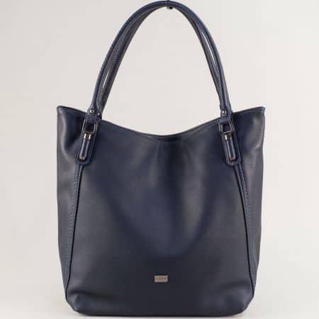Дамска чанта с три прегради- DAVID JONES в син цвят ch6136-1s