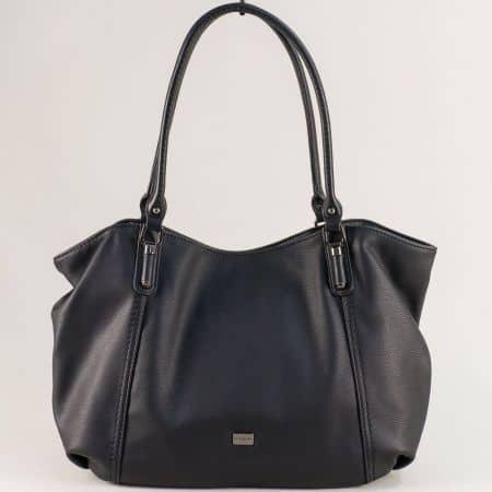 Черна дамска чанта с външно джобче с цип- DAVID JONES ch6136-2ch