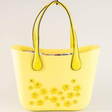 Дамска чанта от силикон в жълт цвят ch62000j