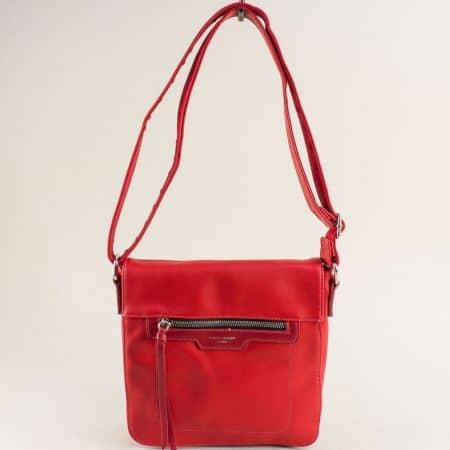 Червена дамска чанта- DAVID JONES с дълга дръжка ch6201-2chv