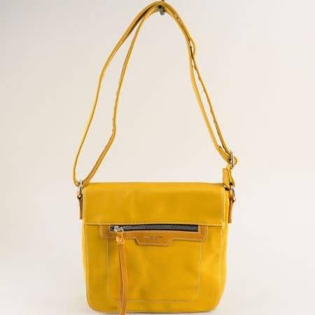 Жълта дамска чанта- DAVID JONES с дълга дръжка ch6201-2j