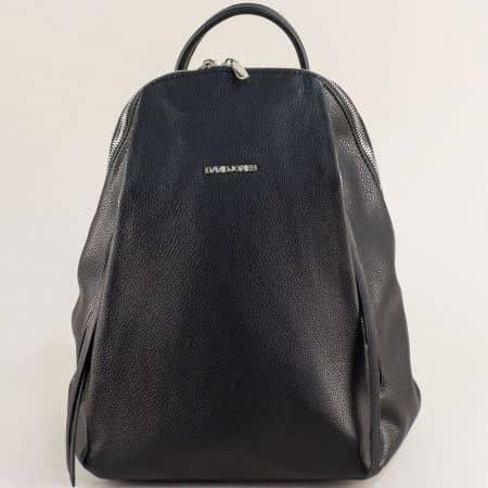 Дамска раница с външни джобчета с цип в черен цвят ch6218-3ch