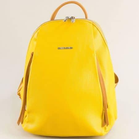 Френска дамска раница в жълто- DAVID JONES ch6218-3j