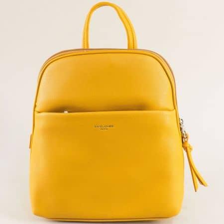 Жълта дамска раница с две външни джобчета с цип ch6219-2j