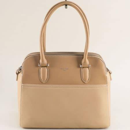 Дамска чанта в бежово с три прегради- DAVID JONES ch6221-3bj
