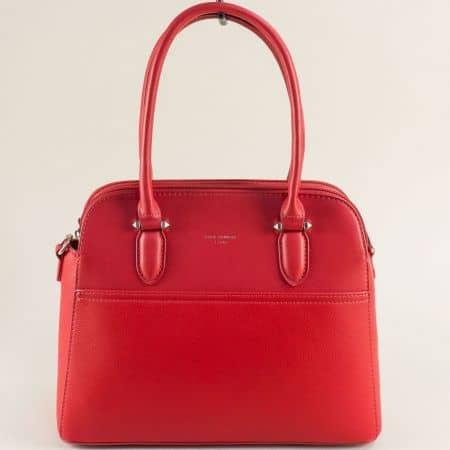 Червена дамска чанта с три прегради- DAVID JONES ch6221-3chv