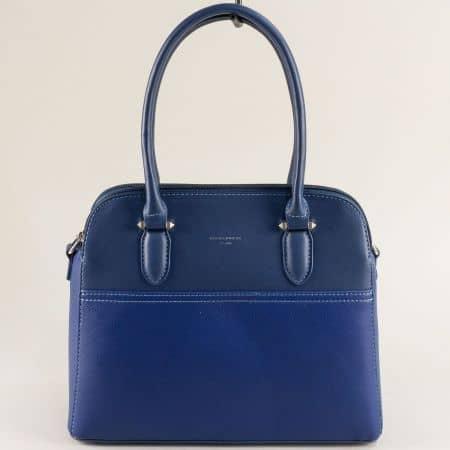 Дамска чанта с три прегради в син цвят- DAVID JONES ch6221-3s