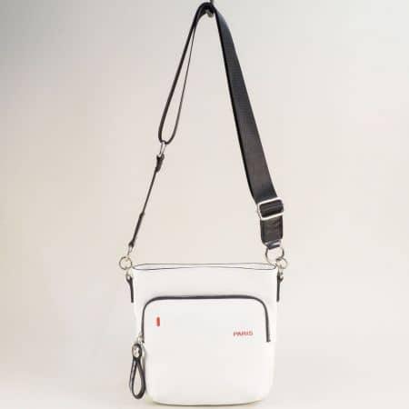 Бяла дамска чанта- DAVID JONES с дълга дръжка ch6237-3b