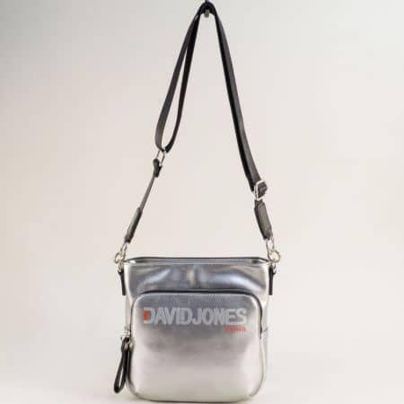 Сребърна дамска чанта с дълга дръжка- DAVID JONES ch6237-3sr