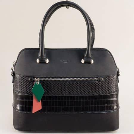 Черна дамска чанта- DAVID JONES с твърда структура ch6241-1ch