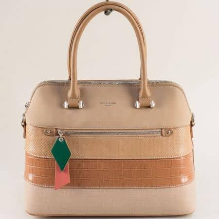 Бежова дамска чанта- DAVID JONES с твърда структура ch6241-1k