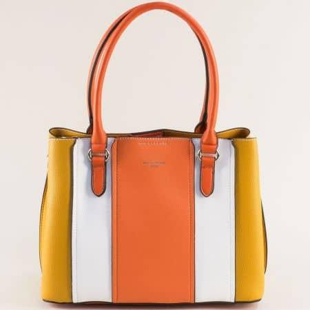 Дамска чанта- DAVID JONES в бяло, жълто и оранж с три прегради ch6258-2j