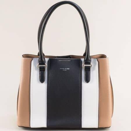 Дамска чанта- DAVID JONES в бяло, черно и кафяво с три прегради ch6258-2k