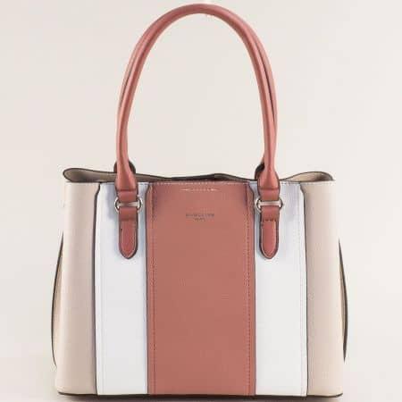 Дамска чанта- DAVID JONES в бяло, бежово и кафяво с три прегради ch6258-2sv