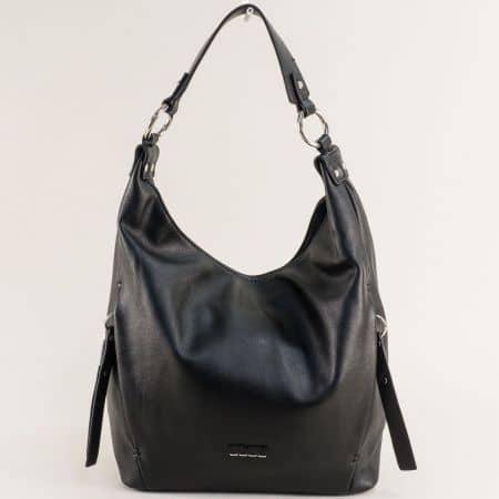 Черна дамска чанта, тип торба с къса и дълга дръжка- DAVID JONES ch6276-1ch