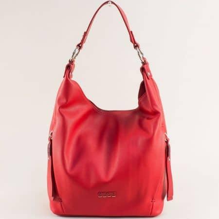 Червена дамска чанта, тип торба- DAVID JONES с къса и дълга дръжка ch6276-1chv