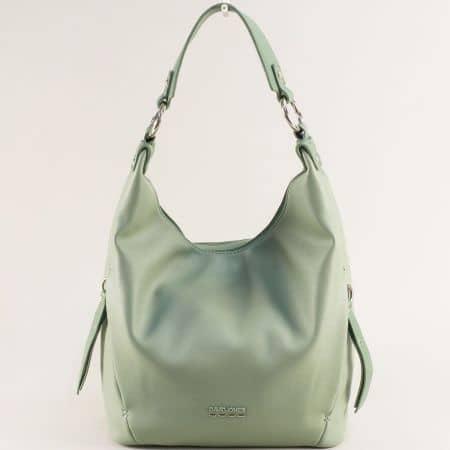 Зелена дамска чанта, тип торба с къса и дълга дръжка- DAVID JONES ch6276-1z