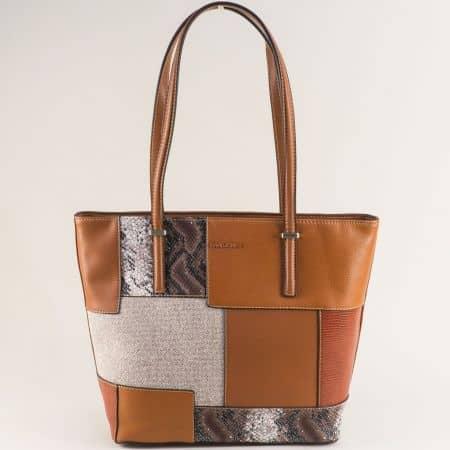 Дамска чанта в кафяво със змиски принт- DAVID JONES ch6279-2k